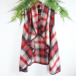Altar'd State Plaid Open Waterfall Cardigan Vest
